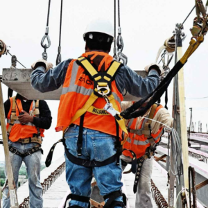 fall protection operator wearing harness