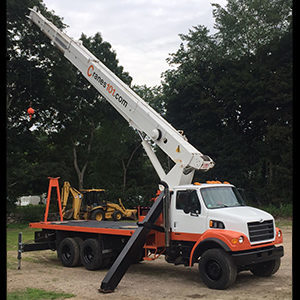Telescoping boom crane with Cranes101 logo in orange - about us